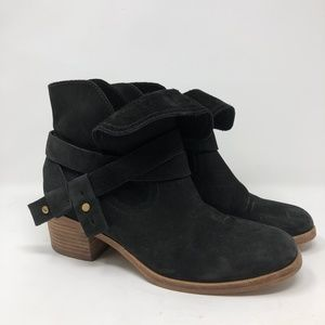 UGG Australia Black Suede Heeled Ankle Boots 7